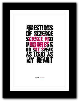 ❤ COLDPLAY  The Scientist ❤ song lyrics poster art edition typography print #17