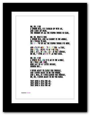 ❤ COLDPLAY Trouble ❤ song lyrics poster art limited edition typography print #21