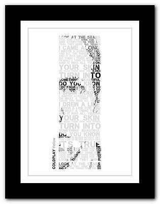 ❤ COLDPLAY yellow ❤ song lyrics poster art limited edition typography print #25