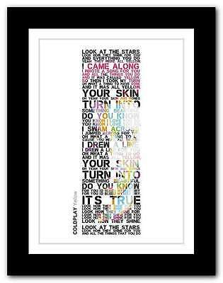 ❤ COLDPLAY yellow ❤ song lyrics poster art limited edition typography print #26
