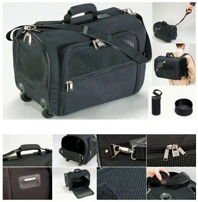 Pets on Tour Deluxe Dog Travel / Carrier Crate Black Nylon Bag