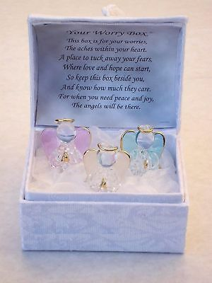 Crystal Glass Angels Worry Box