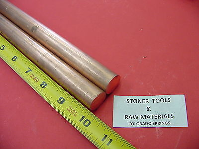 """2 Pieces 3/4"""" C110 COPPER ROUND ROD 10"""" long H04 Solid CU New Lathe Bar Stock"""