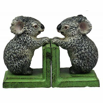 Hand Painted Cast Iron Koala Bookends - Green Base