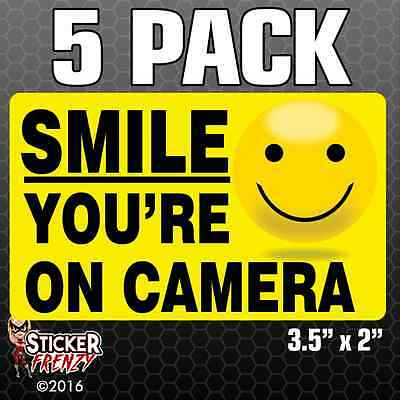 5 Pk SMILE YOU'RE ON CAMERA Stickers Video Alarm Security System Decal Warning
