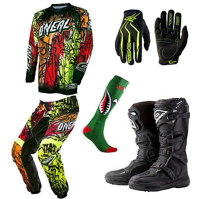 ONeal Element Vandal Motocross MX Dirtbike Jersey Pants Gloves Socks Boots Combo