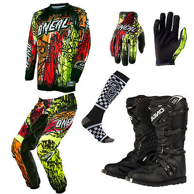 ONeal Element Vandal Motocross Dirtbike MX Jersey Pants Gloves Socks Boots Combo