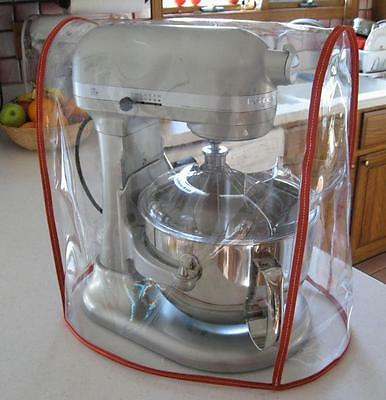 CLEAR MIXER COVER fits KitchenAid Bowl Lift Mixer - RED Trim - (5-6 Qt.)