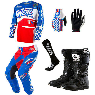 ONeal Element Afterburner Motocross Dirtbike Jersey Pants Gloves Socks Boots Set
