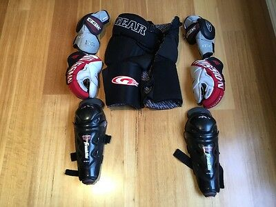 7 Piece Set Of Hockey Pads, Elbow, Gloves, Knee And Hip/thigh