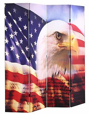 4-Panel Canvas  Room Screen Divider American Eagle Flag Double Sides Design