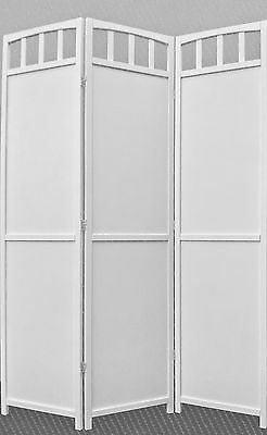 Legacy Decor 3-panel Screen Room Divider, Solid Wood, White Finish
