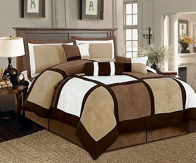 7 Pc Beige Brown Black Micro Suede Patchwork Comforter Bedding Set Washable