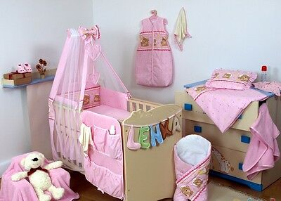 Pink Teddy and Stars 6pc NURSER BABY COT SET INCLUDES CANOPY+ HOLDER/BUMPER/MORE