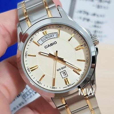 Casio Mens Two-Tone Stainless Steel Dress Watch NEW 50M Gold Dial MTP1381G-9A