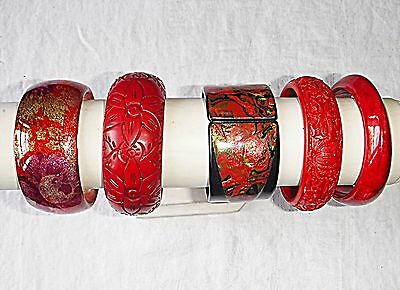 Vintage & Retro Lucite Plastic Resin  Reds Bangle Collection 5 Wow