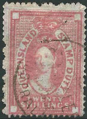 QUEENSLAND 1871-72 POSTAL FISCAL No Wmk 20/- Rose ACSC F16 cv$1250 fine used