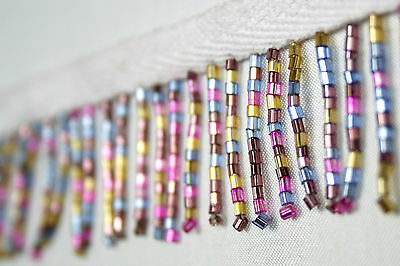 "Unotrim Beaded Trim 1-1//2/"" Multi-Color Round Sequins Glass Bead with 3//8/"" Ribbon"