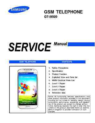 Samsung Galaxy S4 I9500 Service Repair Technical Manual all Levels schematics