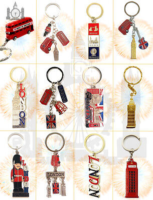 12 British Souvenirs Keychain Miniature London Key Ring Union Jack Metal Gift
