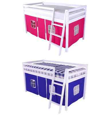 BED TENT for Kids Single Mid Sleeper Cabin Bunk Bed Available In Pink or Blue