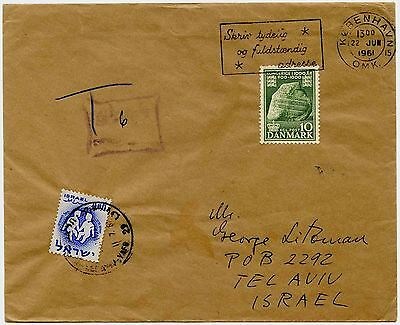 DENMARK to ISRAEL POSTAGE DUE 1961