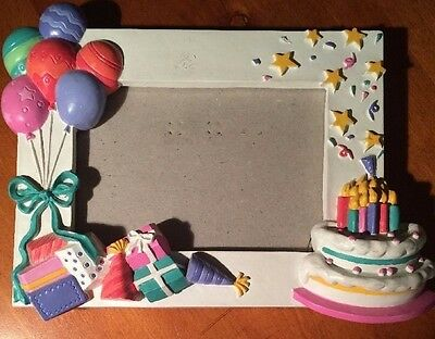 "Happy Birthday Picture Frame -colorfully embellished-6 1/2"" by 5""-SHIPS FREE"