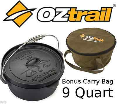 OZTRAIL 9 QUART CAMP OVEN + CARRY BAG Cast Iron Pot Pan Cookware