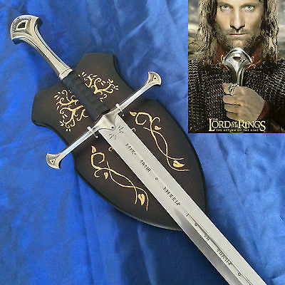 Lord of the Rings the Sword of Elendil, Narsil Sword & Wooden Display Plaque