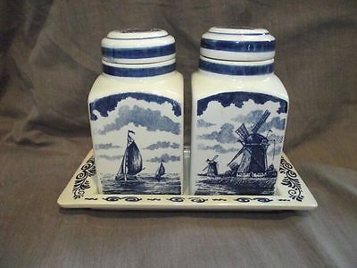 Delft Blauw Spice Jar/Canister Set with Tray - Made in Holland
