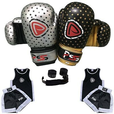 Kids Uniform New Set of 3 Pieces Uniform (3-14 years) Gloves 4-6 OZ + Wraps 1010