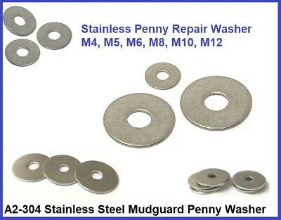 Stainless Steel Repair Washers Mudguard Penny Washers Metric for Bolts and Screw
