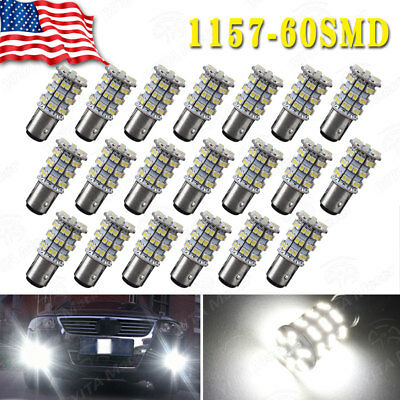 20 X 6000K White 1157 BAY15D LED Backup Reverse Tail Stop Brake Light Bulbs 1152