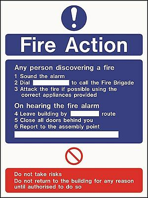 Fire Action Notice 150 x 200mm Fill in Details  FREE P&P - *buy 4 get ONE FREE*