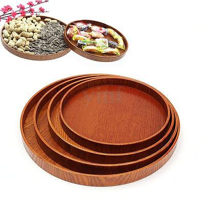 Natural Wood Serving Tray Food Tea Server Dishes Platter Wooden Round Plate