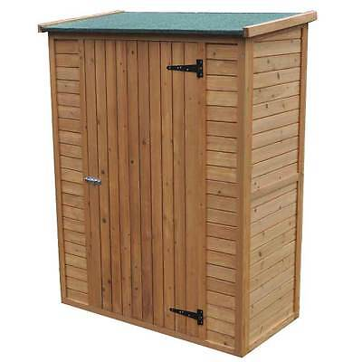 Outdoor Garden Wooden Pent Shed Tools Slanted Roof Storage Bicycle Cabinet Patio