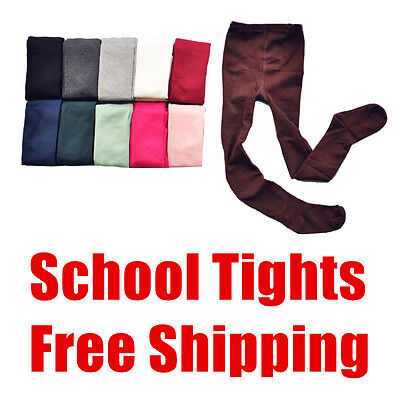 1x Kids Girls Juniors Plain Cotton Rich Opaque School Tights Stockings Pantihose
