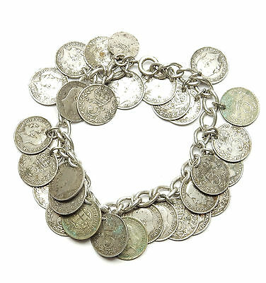 """Silver Three Pence Penny 3p Coin Bracelet Rare George V Sterling Silver 60g 7.5"""""""