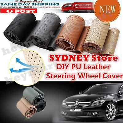 Beige Universal PU Leather DIY Car Steering Wheel Cover With Needles and Thread