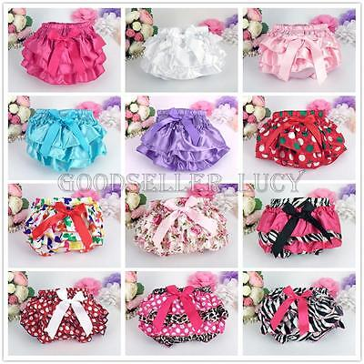 Kids Baby Girls Toddler Ruffle Frilly Pants Nappy Cover Bloomer Pettiskirt 0-24M