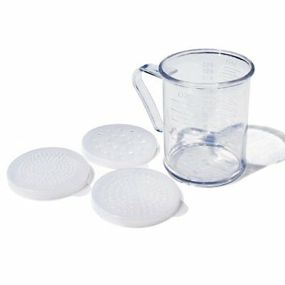 New Star Foodservice 22513 Polycarbonate Dredge Shaker with 3 Lids, 10-Ounce,