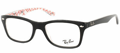 Ray Ban Eyeglasses RX5228 5014 Black On Red Texture Plastic Frame 53mm