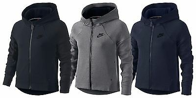 Nike Girls Tech Fleece Big Kids Hoodie Black/Grey/Blue Multiple Sizes New