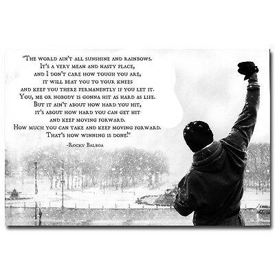 Rocky Balboa Motivational Silk Poster Print Inspirational Quote 20x30 24x36 inch