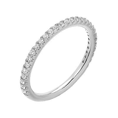 0.20 Ct Brilliant Cut Ring Stackable Wedding Anniversary 14K White Gold Band