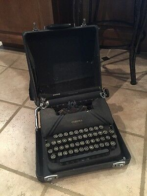 Vintage Collectible Smith Corona Sterling Heavy Metal Typewriter In Case