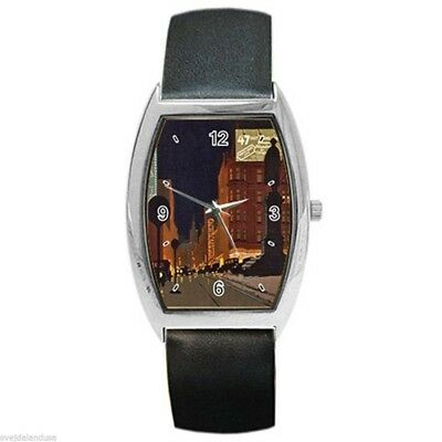 Milwaukee Grand Avenue Vintage 1930's Barrel Style Silver Metal Watch Leather
