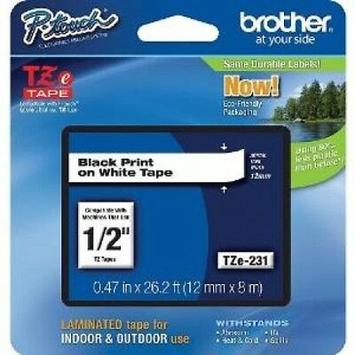 Brother TZe-231 P Touch Label Tape - 12mm Black on White Laminated Adhesive Tape