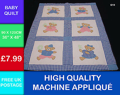 New Childs Patchwork Teddy Bear Applique Quilt 100% Cotton Wall Hanging Q10