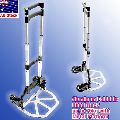 Folding Hand Truck Aluminium Trolley Luggage Cart Platform Wheels up to 75Kg